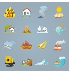 Natural disaster icons flat vector