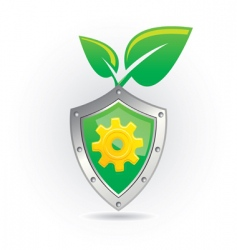 Shield with leaf icon vector
