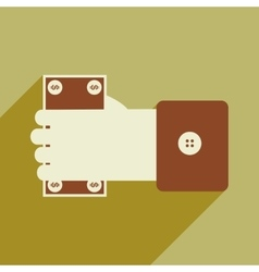 Modern flat icon with shadow money in hand vector