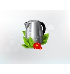 Metal kettle background vector