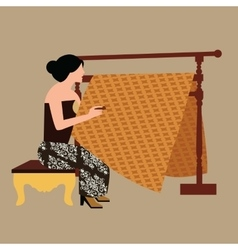 Javanese woman girl drawing create batikholding vector