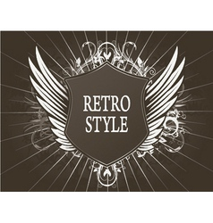 vintage shield with wings vector image