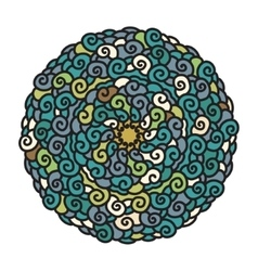 Hand drawn colorful mandala in cold colors vector