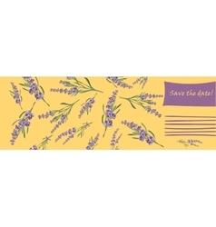 Invitation cards with flower frame lavender vector