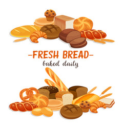 Banner with bread products vector