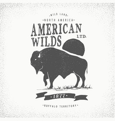 buffalo retro label vector image