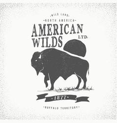 Buffalo retro label vector