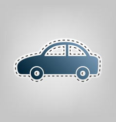 Car sign blue icon with vector