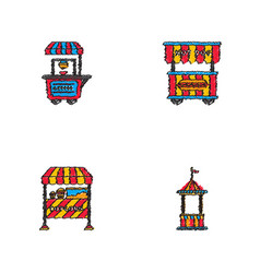 Circus equipment icons in hatching style vector