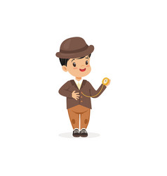 Cute little boy in tweed suit with pocket watch vector