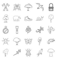 Dangerous territory icons set outline style vector