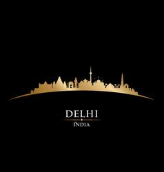Delhi india city skyline silhouette black vector