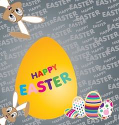 Easter bunny with Big yellow egg on a colorful vector image
