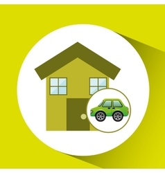 Eco car house icon environment vector