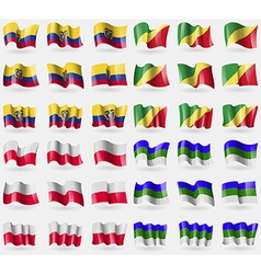 Ecuador congo republic poland komi set of 36 flags vector