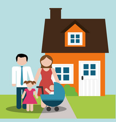Family home parents and childrens image vector