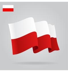 Flat and waving polish flag vector