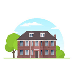 frontview of english style suburban private house vector image vector image