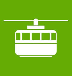 Funicular icon green vector