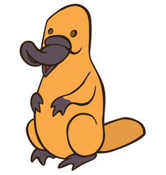 Funny cute cartoon platypus vector