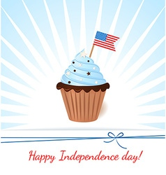Greeting card with flag american patriotic cupcake vector