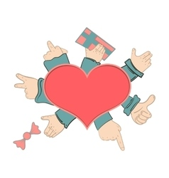 Hand gestures out of the heart vector image vector image
