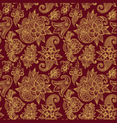 Mehendy golden flower seamless pattern design vector