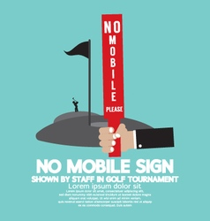 No Mobile Sign In Golf Tournament vector image vector image