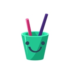 Pencil Holder Cup Primitive Icon With Smiley Face vector image vector image