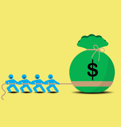 Pull money business tug of war vector