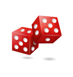 realistic 3d red casino dice vector image vector image
