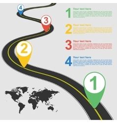 Road infographic with colorful pin pointer vector image vector image