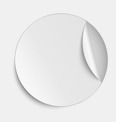 Round paper sticker on white background vector image