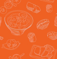 Seamless pattern with japan food - vector