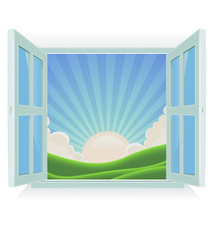 Summer landscape outside the window vector