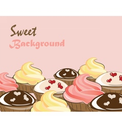 Vanilla cream and chocolate cupcakes vector image
