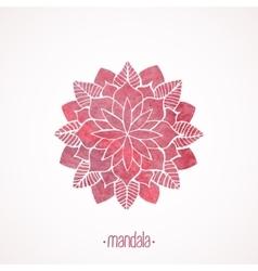 Watercolor pink flower mandala vector