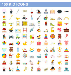 100 kid icons set flat style vector