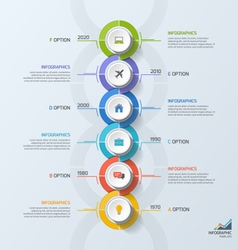 Timeline business vertical infographic template 6 vector