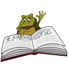 Frog reading book vector