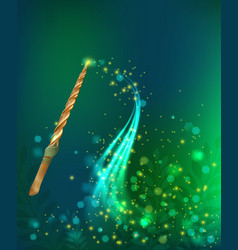 Luminous glare background with magic wand vector