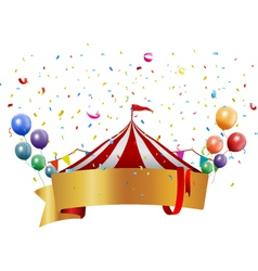 Circus background with balloon and confetti vector image