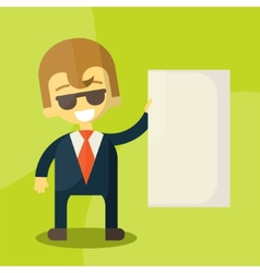 businessman holding blank notes characters poses vector image