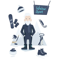 Athletic old man and winter sport vector