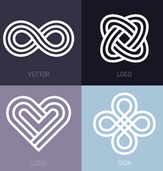 Set of abstract line logos vector