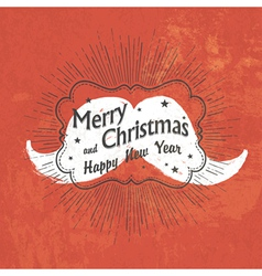 Merry christmas vintage greeting red vector