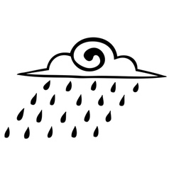 Sketch rain clouds on a white background icon vector