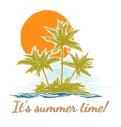 Design print for summer t-shirt with palm trees vector
