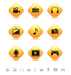 Multimedia icons on yellow rhombic buttons vector