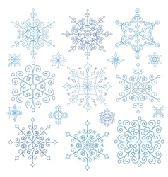 Snowflakes setchristmasnew yearwinter lace vector